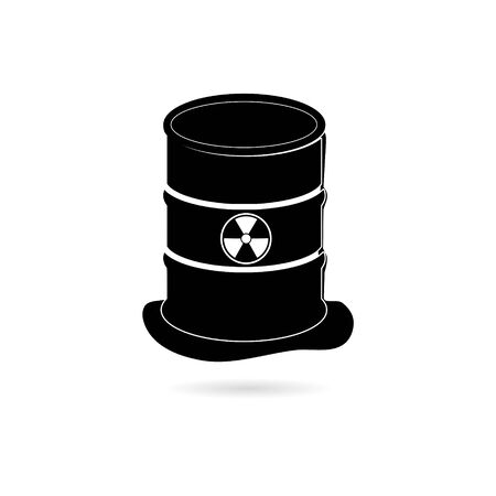 Black Radioactive green slime icon , Barrel with spilled liquid