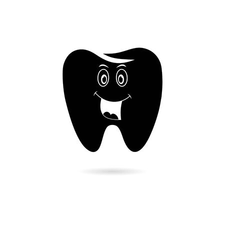 Black Smiling tooth icon, Tooth logo