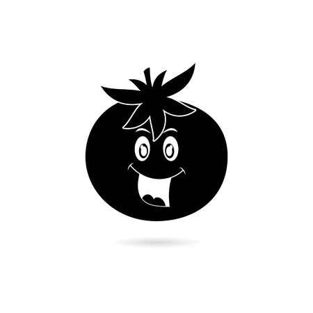 Black Cute vegetable tomato cartoon character isolated on white background