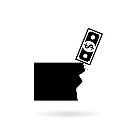 Black Financial crisis concept, Hard financial problem logo or icon Illustration