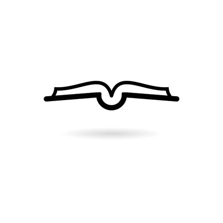 Black Open book logo, Book icon