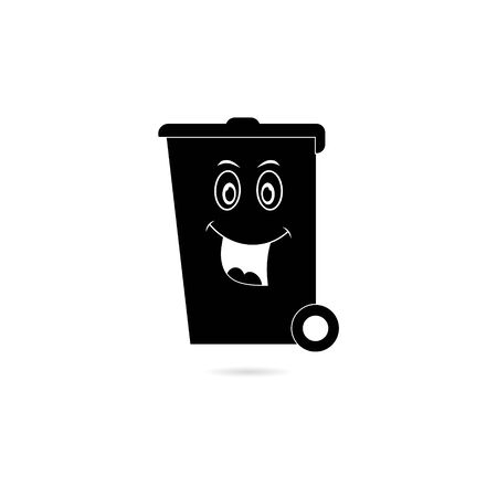 Black Happy smiling face cartoon trash bin icon or logo