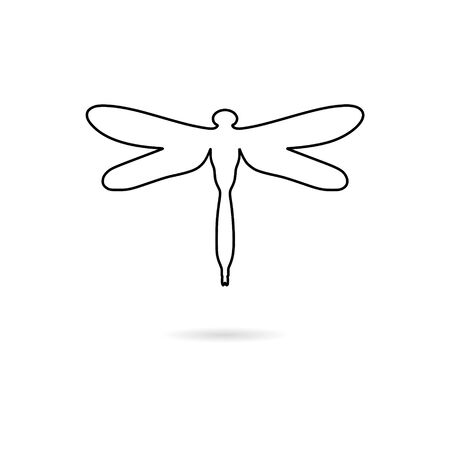 Black Dragonfly insect line icon