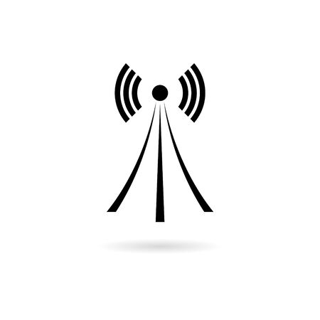 Black Wireless tower with waves, Tower icon, Tower logo