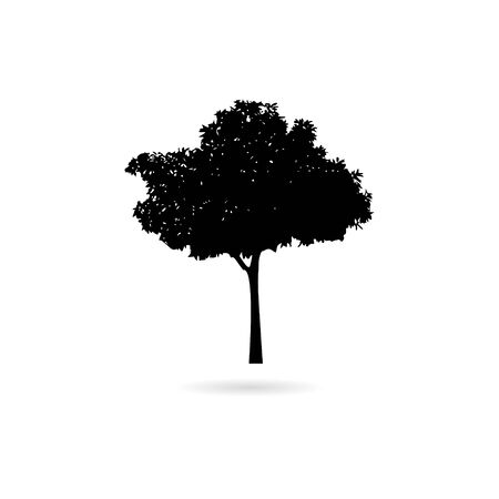 Black Silhouette of tree on white background, icon or logo 向量圖像