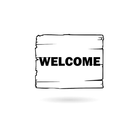 Black Welcome sign hanging icon or logo Vectores