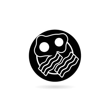 Black Breakfast, Fried eggs with bacon icon or logo