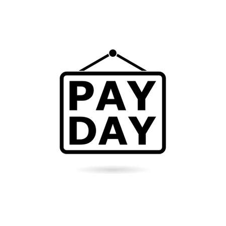 Black PAYDAY Announcement, Flat icon Illustration