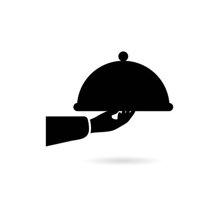 Black Waiter holds Food cover icon or logo  イラスト・ベクター素材