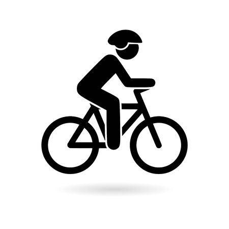 Black The cyclist icon, The man on a bicycle logo