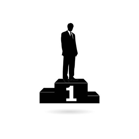 Black Successful businessman standing on the winning podium, simple icon or logo