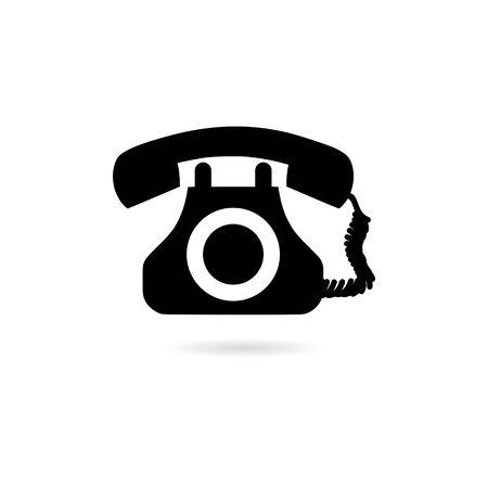 Black Simple Vintage Telephone Isolated icon
