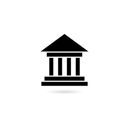 Black Bank building icon, Bank building logo Stock Illustratie
