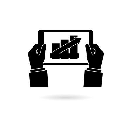 Businessman read financial analysis report with chart and graph, Hand holding tablet icon or logo