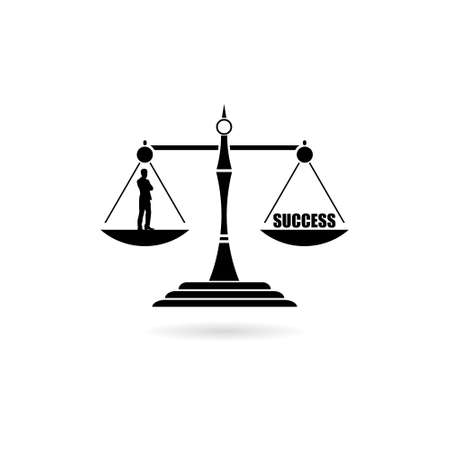 Black Businessman and word success on a balance scale icon or logo