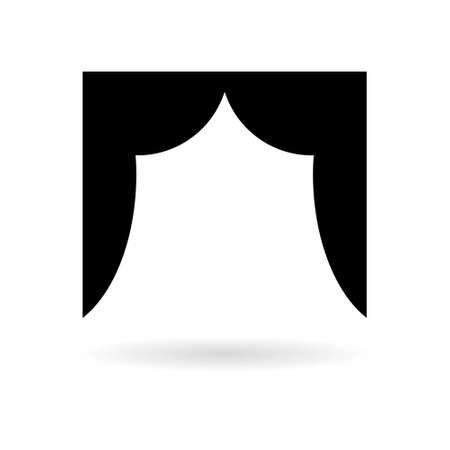 Black Empty theater stage, Theater stage icon or logo  イラスト・ベクター素材