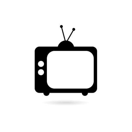 Black Old television icon, tv logo Ilustração