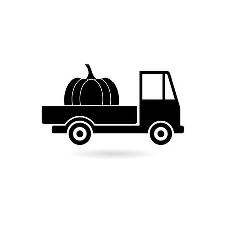 Black Old truck with harvest pumpkin icon or logo