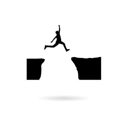 Black Silhouette of man jumping over mountains icon or logo