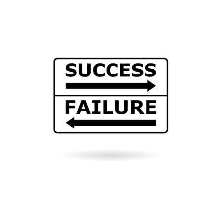 Black Success failure concept, road sign icon
