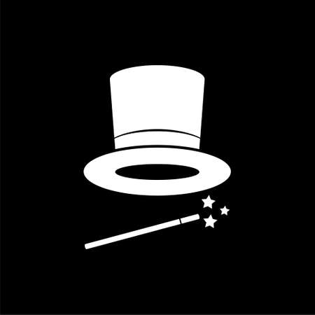 Magician Hat icon or logo on dark background