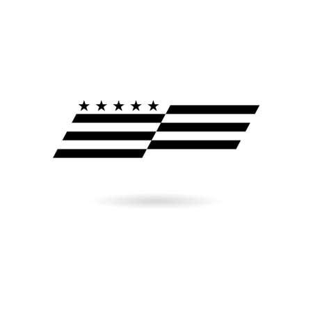 Black American flag abstract, USA flag icon or logo