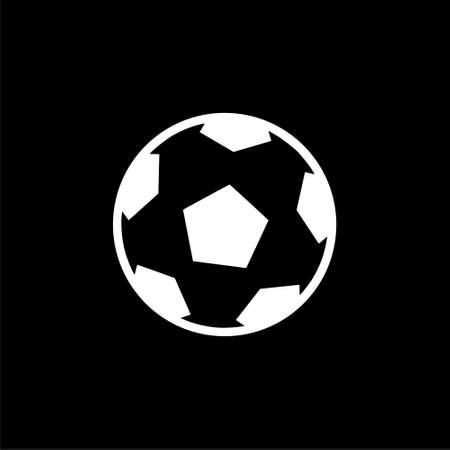 Football icon, soccer ball simple illustration on dark background
