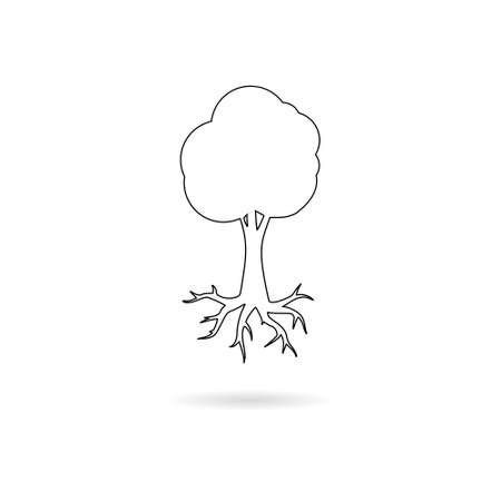 Black Tree and root logo, tree and root icon 向量圖像
