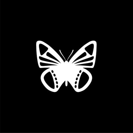 Butterfly logo isolated on dark background Illustration