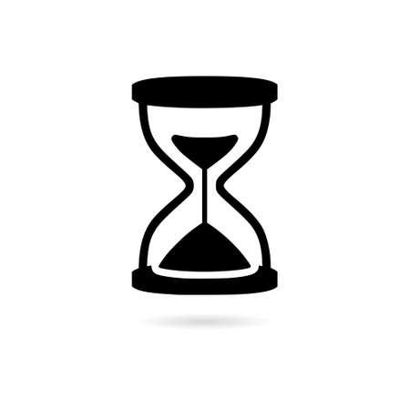 Black Sand clock timer icon or logo, Vintage hourglass, sandglass timer or clock
