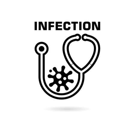 Black Infection icon, stethoscope logo