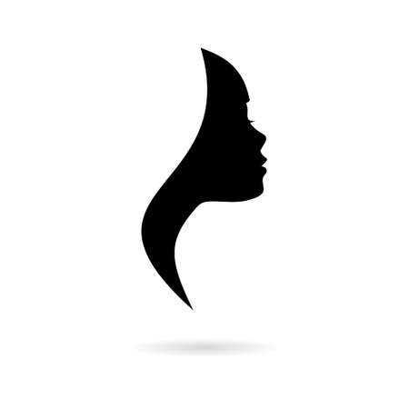 Black Beautiful profile of young woman icon or logo 일러스트
