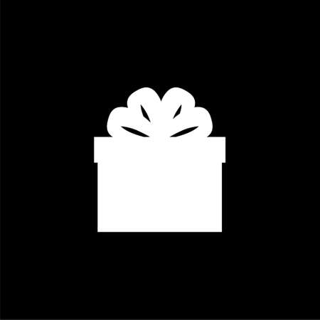 Gift box with ribbons icon or logo isolated on dark background