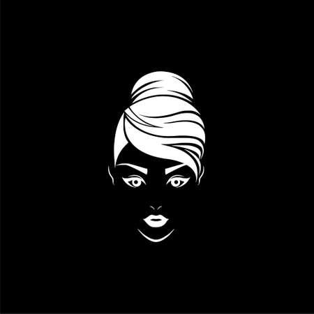 Women hair style icon, logo women face on dark background Ilustrace