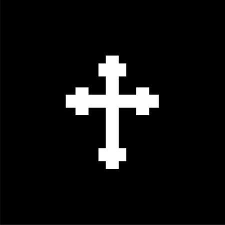 Christian church logo, Cross icon on dark background