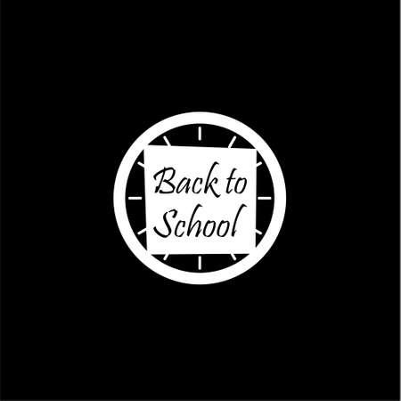 Back to School, Clock icon or logo on dark background Illustration