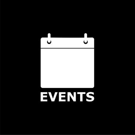 Events logo (calendar icon) on dark background Illustration