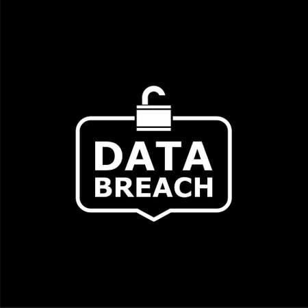 Data breach icon or logo on dark background