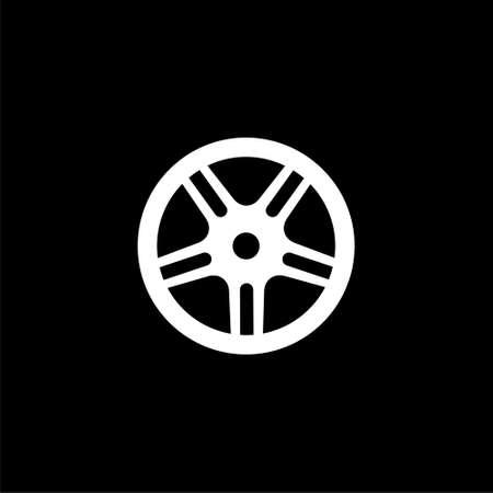 Car, vehicle or automobile tire icon or logo on dark background Illustration