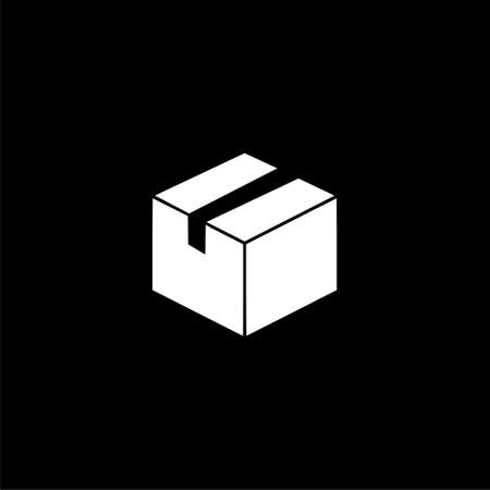 Package Delivery logo, Box icon on dark background 矢量图像