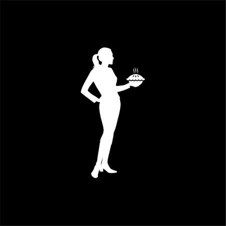 Housewife holding pie, woman holding a pie icon or logo on dark background Ilustracja
