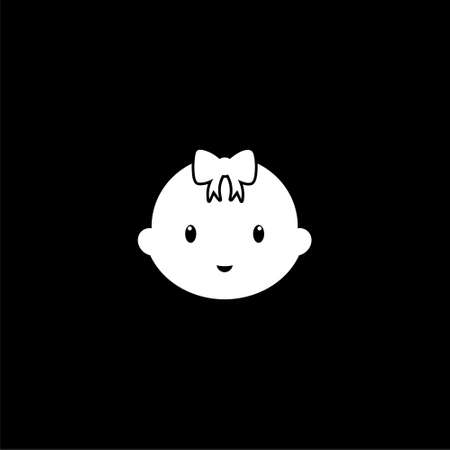 Cute baby logo, baby face icon on dark background