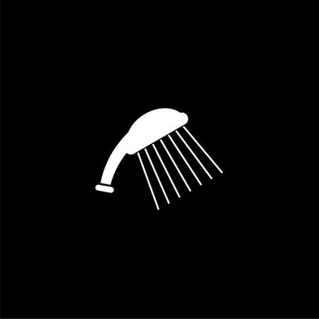 Shower head icon or logo isolated on dark background 矢量图像