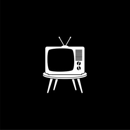 Old Television On Wood Table icon or logo on dark background Ilustrace