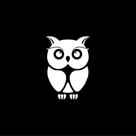 Owl Logo Template, Owl icon on logo on dark background