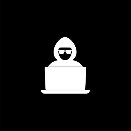 Hacker, laptop or icon on dark background