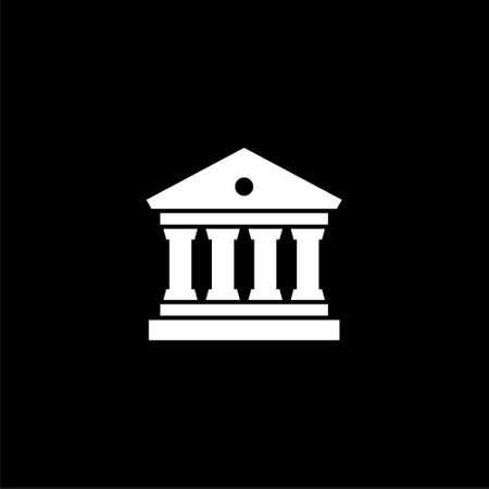 Bank building icon, Bank building logo on dark background