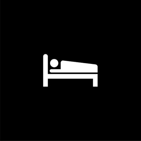 Hospital bed logo, bed icon on dark background