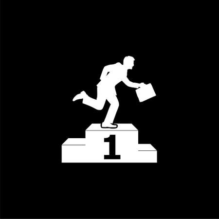 Successful businessman standing on the winning podium, simple icon on dark background