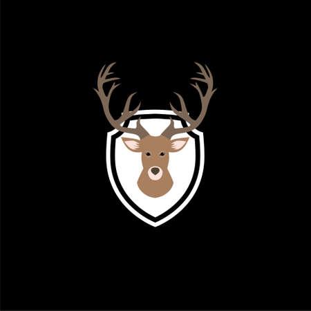 Deer head illustration icon or logo, Deer Head Silhouette, Deer logo on dark background